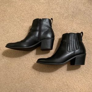 Express Faux Leather Ankle Booties